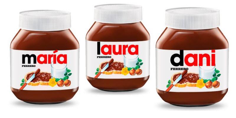 Personalización de producto Nutella