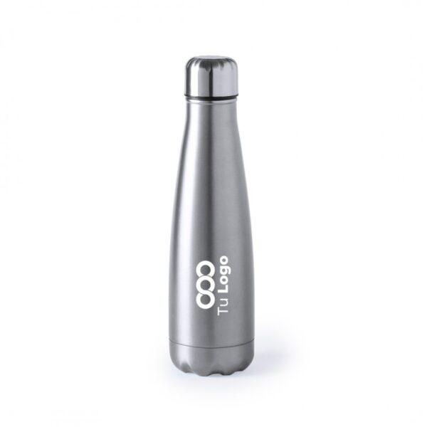 botella personalizada de acero gris con logo