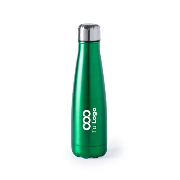 botella personalizada de acero verde con logo
