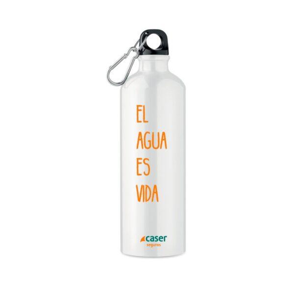 botella de aluminio blanca con frase y logo