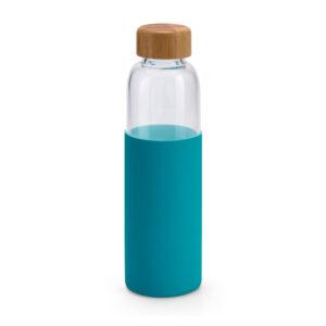 Botella de vidrio, tapón de bambu y funda de neopreno