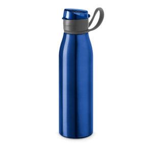Botella deportiva con asa azul con logo