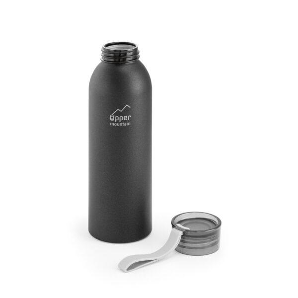 botella de aluminio negra con la tapa abierta