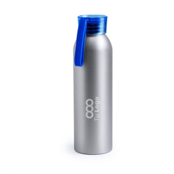botella personalizada de alumnio gris con logo y tapa azul