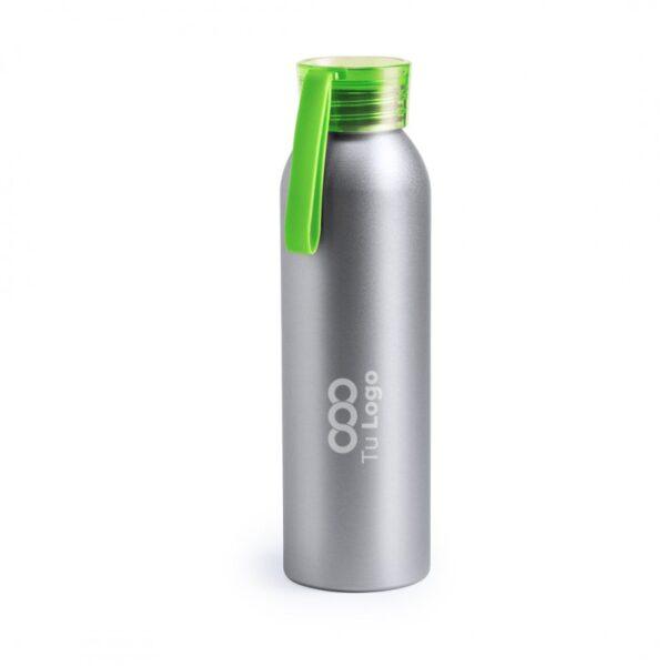 botella personalizada de alumnio gris con logo y tapa verde