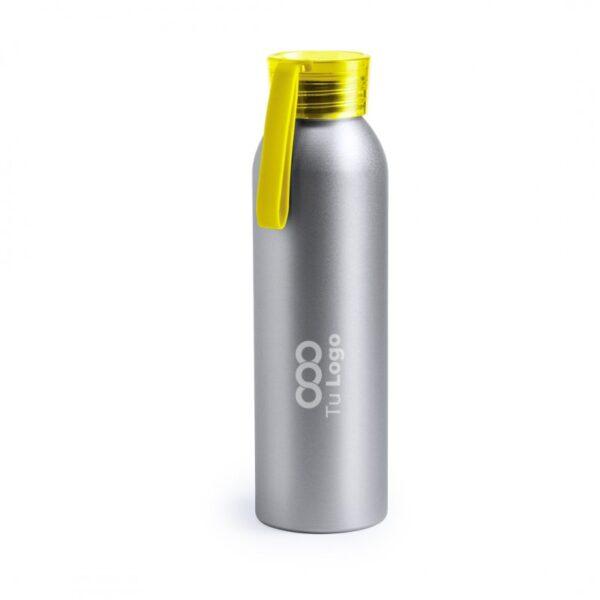 botella personalizada de alumnio gris con logo y tapa amarilla