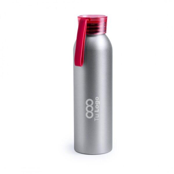 botella personalizada de alumnio gris con logo y tapa roja