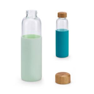 Botella personalizada de vidrio, tapón de bambu y funda de neopreno