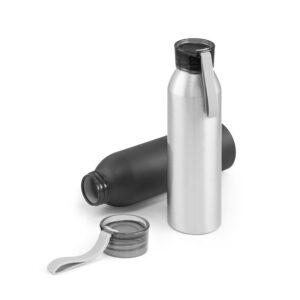 botella de aluminio gris y negra