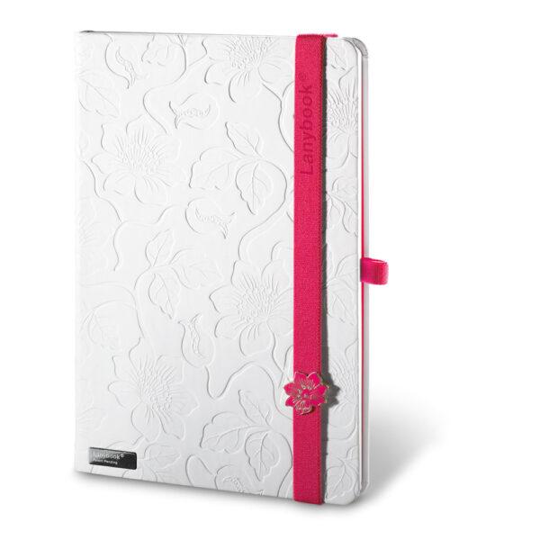 Cuaderno personalizado en color blanco y la goma fucsia