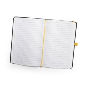 Cuaderno personalizado en color negro y la goma amarillo
