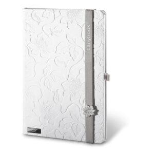 Cuaderno personalizado en color blanco y la goma gris