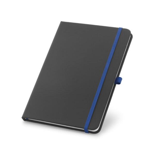 Cuaderno personalizado en color negro y la goma azul oscuro