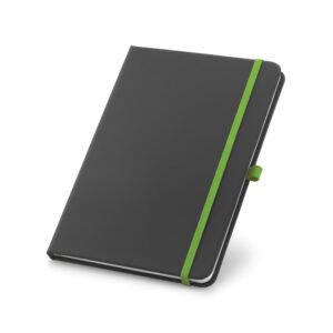 Cuaderno personalizado en color negro y la goma verde
