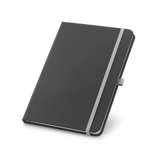 Cuaderno personalizado en color negro y la goma gris