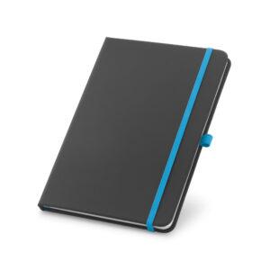 Cuaderno personalizado en color negro y la goma azul