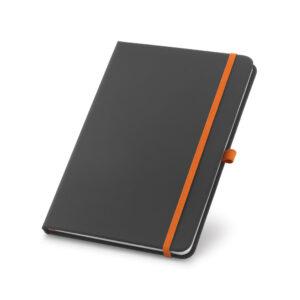 Cuaderno personalizado en color negro y la goma naranja