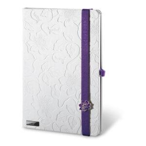 Cuaderno personalizado en color blanco y la goma morada
