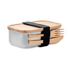 Fiambrera de acero inoxidable y tapa de madera de bambú