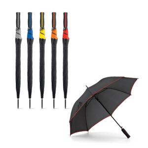 Paraguas personalizados negros con franjas de color