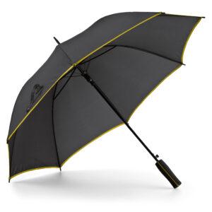 Paraguas personalizado de color negro y franja amarilla