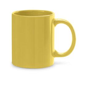 Taza de cerámica de color amarillo