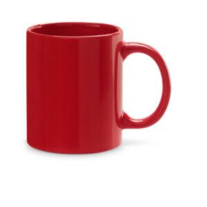 Taza de cerámica de color rojo