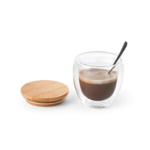 Taza de cafe de cristal con tapa de madera