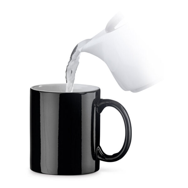 taza de cerámica termosensible de color negro base
