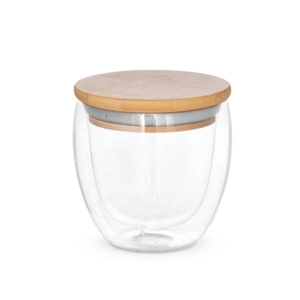 Taza de cristal con tapa de madera cerrada