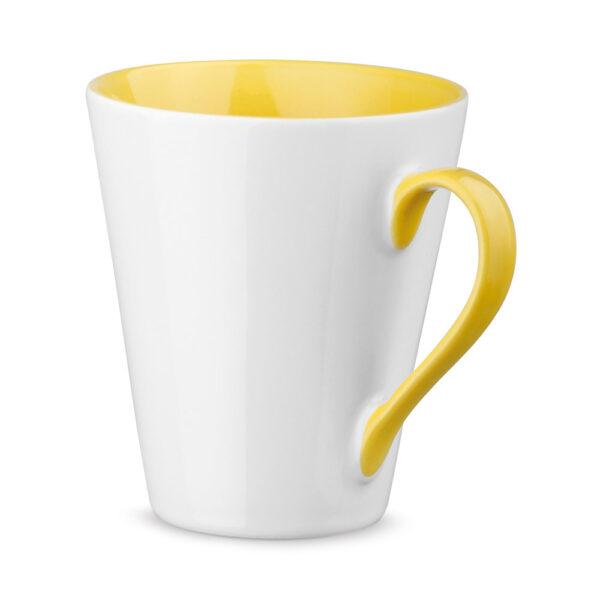 Taza personalizada con asa e interior de color amarillo