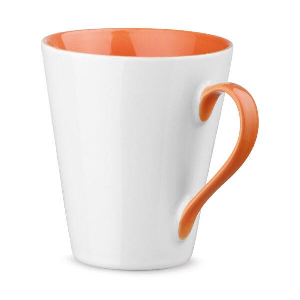 Taza personalizada con asa e interior de color naranja
