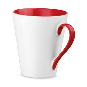 Taza personalizada con asa e interior de color rojo