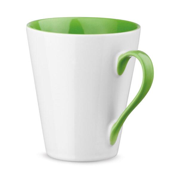 Taza personalizada con asa e interior de color verde