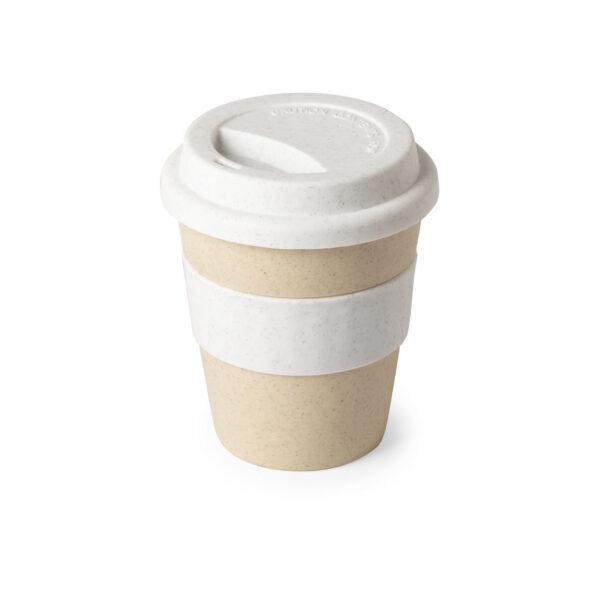 taza de viaje color beige