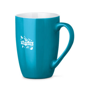 Tazas de cerámica de color azul claro con logo