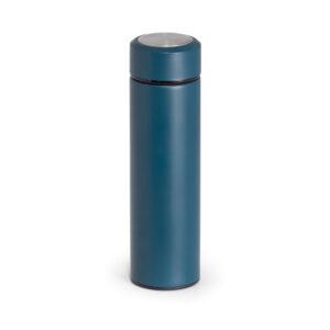 Termo de acero con logo y taza azul