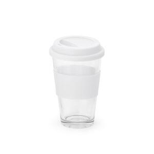 vaso de cristal con franja de color blanco