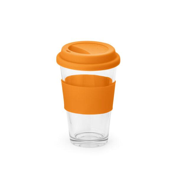 vaso de cristal con franja de color naranja