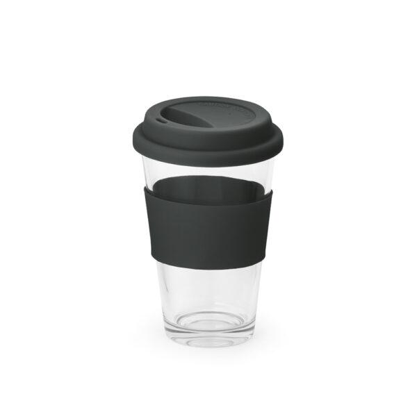 vaso de cristal con franja de color negro