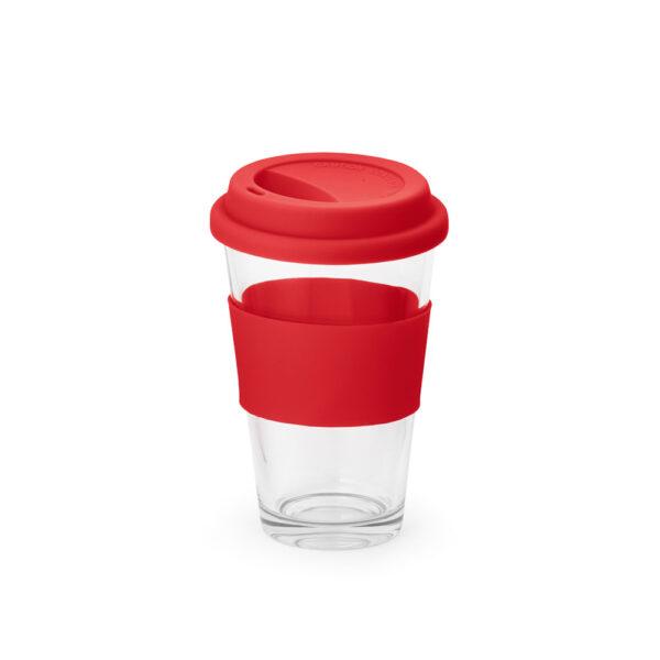 vaso de cristal con franja de color rojo