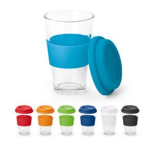 vaso de cristal con franja de color azul