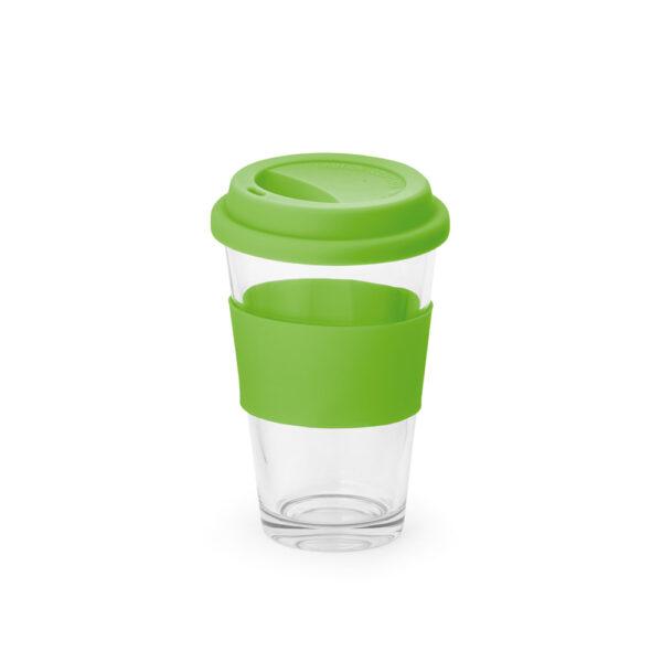vaso de cristal con franja de color verde
