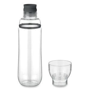 Botella con vaso transparente y detalle de color negro