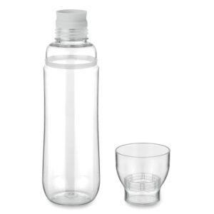 Botella con vaso transparente y detalle de color blanco