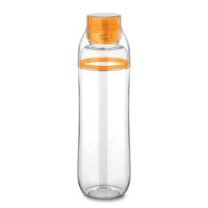 Botella con vaso Botella con vaso transparente y detalle de color naranja y detalle de color verde
