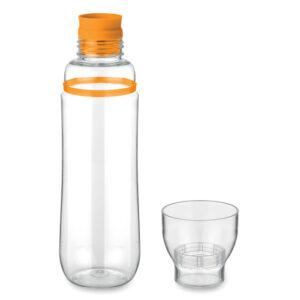Botella con vaso transparente y detalle de color naranja