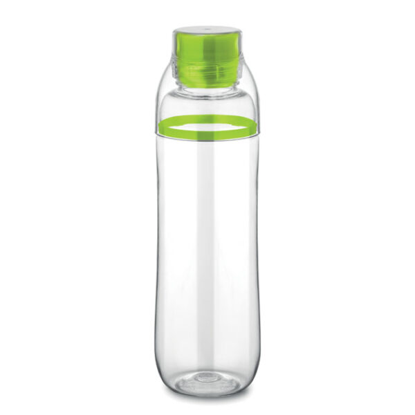 Botella con vaso transparente y detalle de color verde