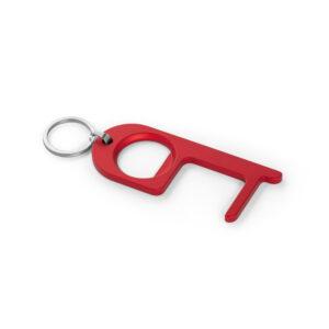 Llavero de Gancho higiénico metálico rojo